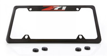Z71 Top Engraved Black Coated Zinc License Plate Frame With Red Z Silver 71