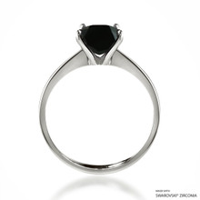 Classic 2 Carat Black Solitaire Ring Made With Swarovski Zirconia