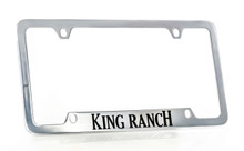 King Ranch Wordmark Chrome Plated Brass Metal License Plate Frame Holder Bottom Engraved 4 Hole
