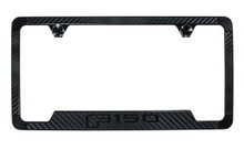 Ford F 150 Carbon Fiber Vinyl Inlay License Frame with Black Exposed Ford Wordmark