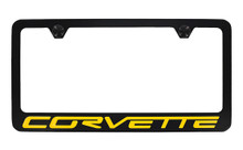 Chevrolet Corvette Wordmark Bottom Engraved Black Coated Zinc Frame