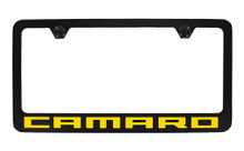 Chevrolet Camaro Wordmark Bottom Engraved Black Coated Zinc Frame