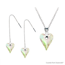 Crystal Luminous Green F Wild Heart Set Embellished With Swarovski Crystals