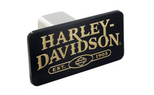 Harley-Davidson Wordmark with Bar & Shield Black Finish Metal Hitch Cover