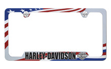 Harley Davidson Wordmark Patriotic Flag Theme UV Printed License Plate Frame