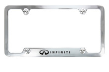 Infiniti wordmark on Chrome Plated brass License Plate Frame Holder