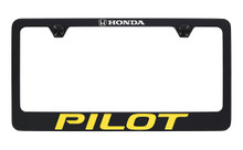 Honda Pilot wordmark black coated metal license plate frame holder 2 hole