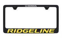 Honda Ridgeline wordmark black coated metal license plate frame holder 2 hole