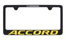 Honda Accord wordmark black coated metal license plate frame holder 2 hole