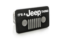 It's a Jeep Thing wordmark black coated metal hitch cover plug