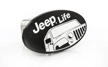 Jeep Life wordmark black coated metal hitch cover plug