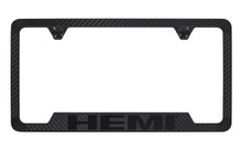 Mopar Hemi Carbon Fiber Vinyl Inlay License Frame with Black Exposed Hemi Wordmark