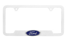 Ford 3D Badge Logo White ABS Plastic License Plate Frame Holder 2 Hole