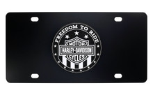 HARLEY-DAVIDSON ' FREEDOM TO RIDE' Black and White UV Printed License Plate Cover