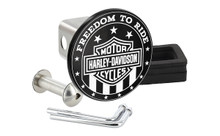 HARLEY-DAVIDSON ' FREEDOM TO RIDE' Black and White UV Printed Metal Hitch Cover
