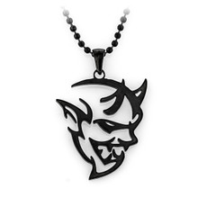 Dodge Challenger SRT Demon Black 316 Stainless Steel Ball Chain Necklace. 24 inch chain (Black)