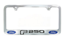 Ford F 250 wordmark with 2 Logos Chrome Plated Metal License Plate Frame Holder