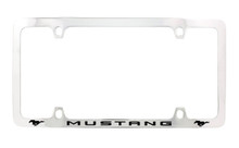 Ford Mustang Wordmark with 2 Logos Thin Rim Chrome Plated Metal License Plate Frame Holder.