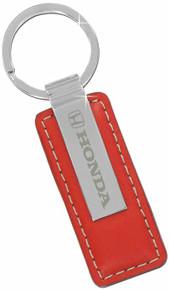 Honda Red Leather Keychain Key Ring Fob Tag Holder