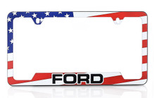 Ford American Flag Red White Blue License Plate Frame