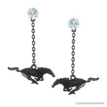 Rhodium Black Gold Plated Solid Brass Ford Pony Earring Embellished With Swarovski Crystals