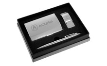 Acura Polished Business Card Holder, Money Clip & Pen Engravable Gift Set (ACGBMPS-A)