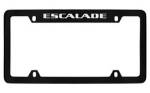 Cadillac Escalade Black Coated Metal Top Engraved License Plate Frame Holder