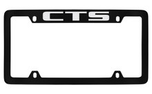 Cadillac CTS Black Coated Metal Top Engraved License Plate Frame Holder
