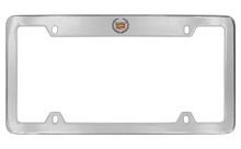 Cadillac Logo Chrome Plated Metal Top Engraved License Plate Frame Holder