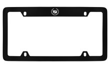 Cadillac Logo Black Coated Metal Top Engraved License Plate Frame Holder