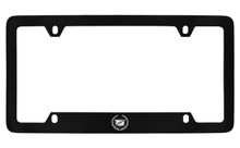Cadillac Logo Black Coated Metal Bottom Engraved License Plate Frame Holder