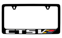 Cadillac CTS With Colored V Logo Black Coated Zinc License Plate Frame Holder With Silver/Colored Imprint