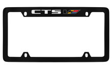 Cadillac CTS With Colored V Logo Top Engraved Black Coated Zinc Frame Holder With Silver Imprint/Col