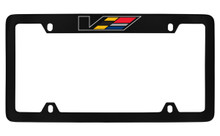 Cadillac V-Series Black Coated Metal Top Engraved License Plate Frame Holder