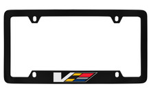 Cadillac V-Series Black Coated Metal Bottom Engraved License Plate Frame Holder