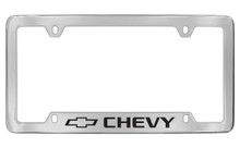 Chevrolet Chevy With Logo Bottom Engraved Chrome Plated Brass License Plate Frame With Black Imprint