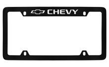 Chevrolet Chevy Top Engraved Black Coated Zinc License Plate Frame With Silver Imprint