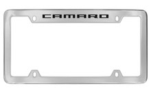 Chevrolet Camaro Top Engraved Chrome Plated Brass License Plate Frame With Black Imprint