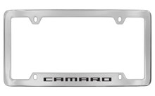 Chevrolet Camaro Bottom Engraved Chrome Plated Brass License Plate Frame With Black Imprint