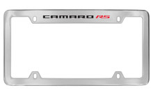 Chevrolet Camaro RS Top Engraved Chrome Plated Brass License Plate Frame With Black Imprint