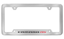 Chevrolet Camaro RS Bottom Engraved Chrome Plated Brass License Plate Frame With Black Imprint