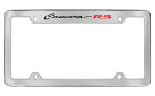 Chevrolet Camaro RS Script Top Engraved Chrome Plated Brass License Plate Frame With Black Imprint