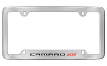 Chevrolet Camaro SS Bottom Engraved Chrome Plated Brass License Plate Frame With Black Imprint