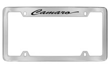 Chevrolet Camaro Script Top Engraved Chrome Plated Brass License Plate Frame With Black Imprint