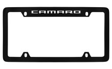 Chevrolet Camaro Top Engraved Black Coated Zinc License Plate Frame With Silver Imprint