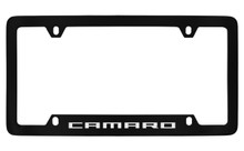 Chevrolet Camaro Bottom Engraved Black Coated Zinc License Plate Frame With Silver Imprint