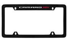 Chevrolet Camaro RS Top Engraved Black Coated Zinc License Plate Frame With Silver Imprint