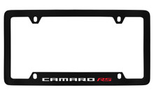 Chevrolet Camaro RS Bottom Engraved Black Coated Zinc License Plate Frame With Silver Imprint