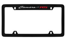 Chevrolet Camaro RS Script Top Engraved Black Coated Zinc License Plate Frame With Silver Imprint