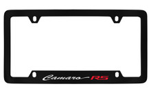 Chevrolet Camaro RS Script Bottom Engraved Black Coated Zinc License Plate Frame With Silver Imprint